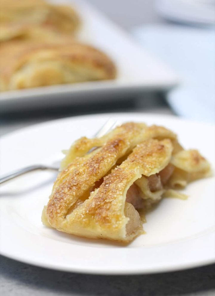Slice of Easy Apple Strudel on a plate.