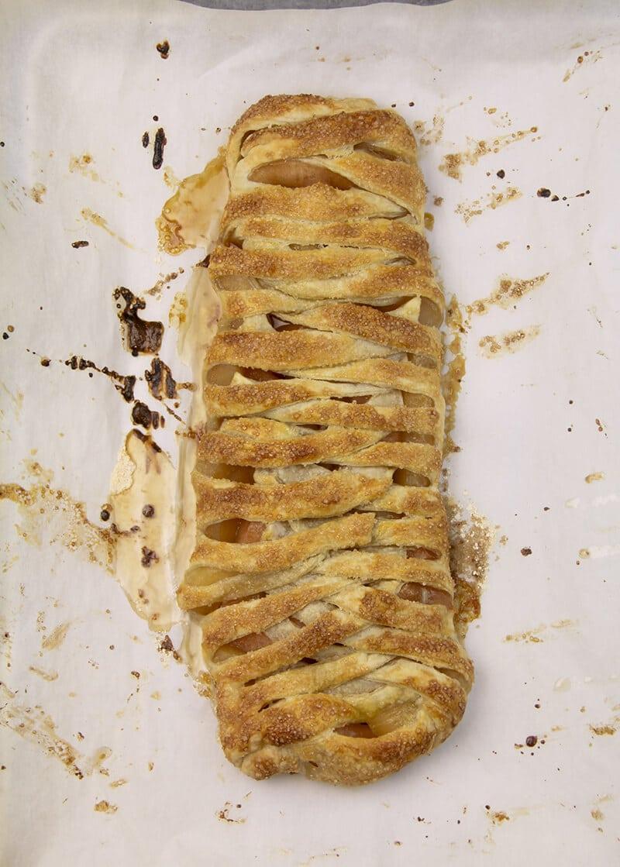 Baked Easy Apple Strudel on baking sheet.
