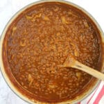 Southern Baked Beans have a touch of sweetness from brown sugar and lots of flavor from onion, peppers, and seasonings. These are easy and your folks will love them!
