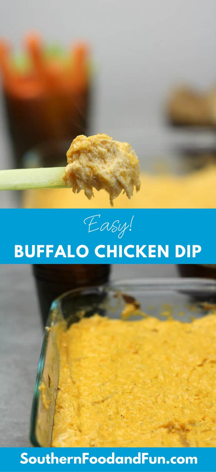 Easy Buffalo Chicken Dip made with three cheeses and Ranch dressing makes a great appetizer for feeding a crowd or weeknight dinner sliders. Takes just minutes to put together! #buffalochickendip #appetizers #easyappetizers #easybuffalochickendip #sliderrecipes #gamedayrecipes #easydinnerideas