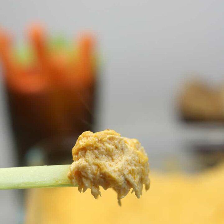 Closeup of Buffalo Chicken Dip on a piece of celery.