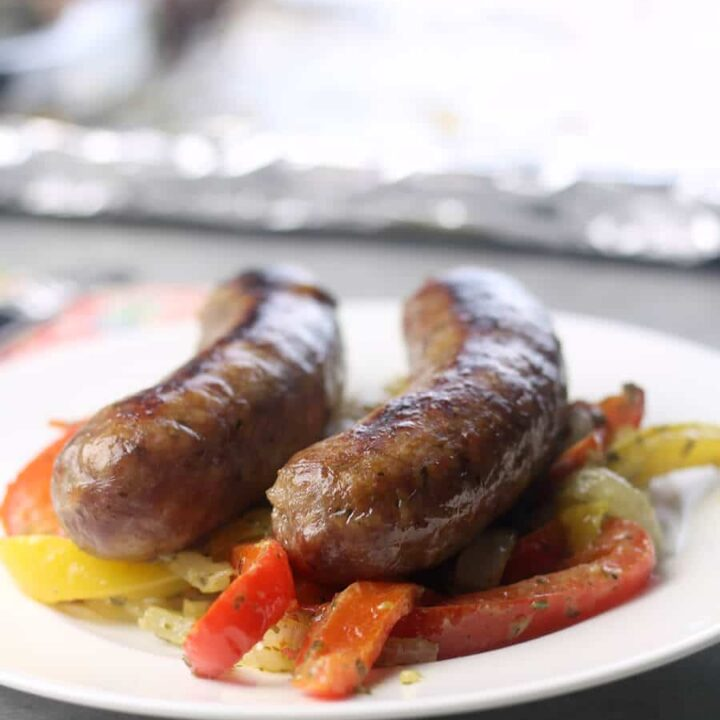 Sausage, Peppers, and Onions served on a plate.