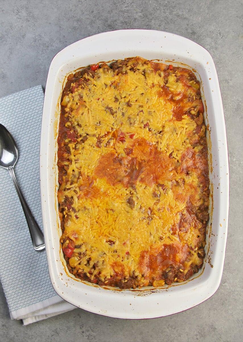 Overhead photo of a dish of baked Unstuffed Pepper Casserole.