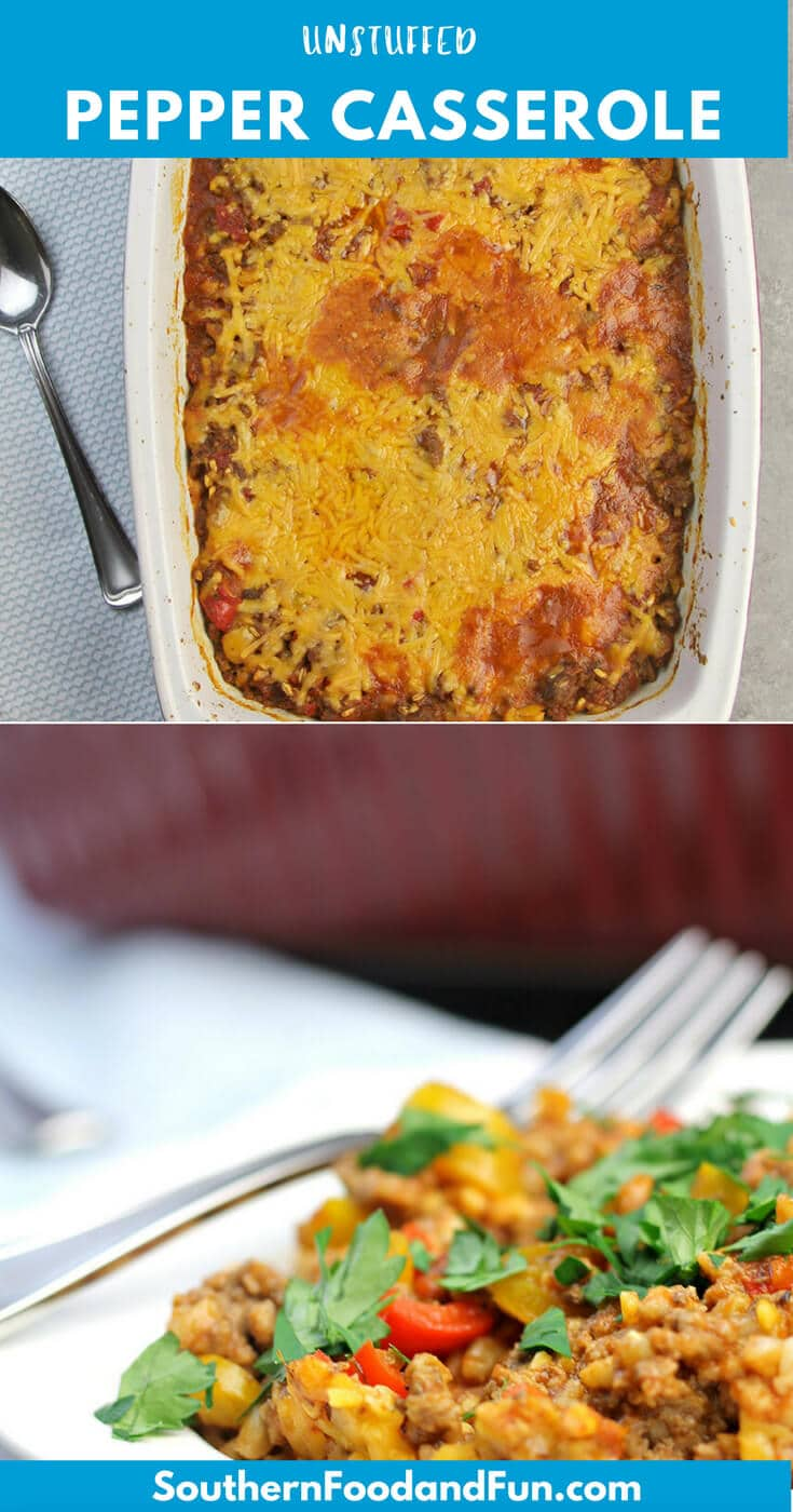 Unstuffed Pepper Casserole with lean ground beef, bell peppers, farro, and cheese--easy enough for a weeknight family dinner!