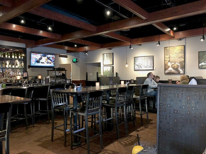The large dining area in the Bullfish Grill in Pigeon Forge.