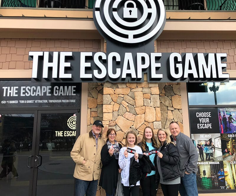 A picture of our group outside the Escape Game in Pigeon Forge.
