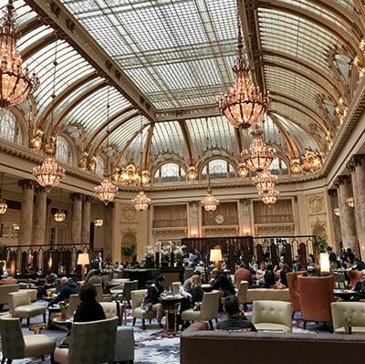 The famous Garden Court at Palace Hotel San Francisco, one of our favorite luxury hotels.