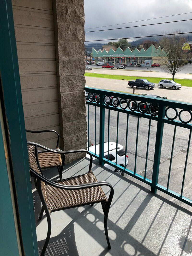 The balcony outside the sweetheart suite at the Willow Brook Lodge in Pigeon Forge.