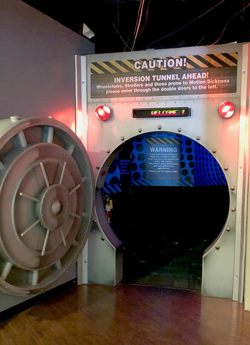 Front of the inversion tunnel, an exhibit inside the Wonderworks Pigeon Forge.