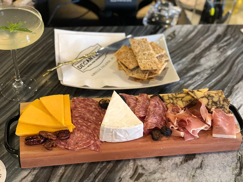 Charcuterie and cheese board from The Decantery, one of Amelia Island restaurants.