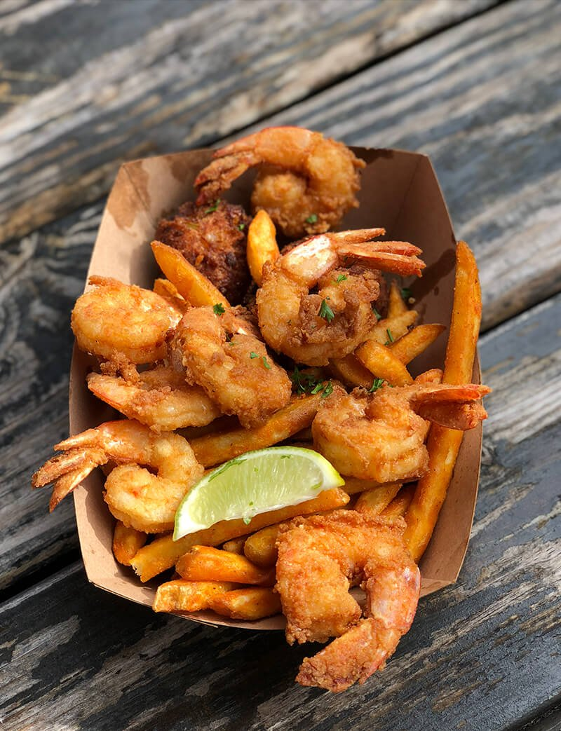 Basket of fried shrimp from Timotis, one of Amelia Island restaurants.