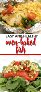 Oven baked fish in foil or parchment packets is a great way to use your fresh summer vegetables like spinach, corn, and tomatoes!