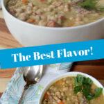 a white bowl of navy bean soup