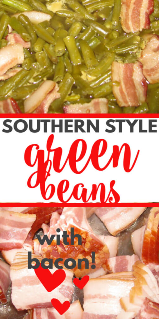 Southern green beans are flavored with bacon and cooked low and slow until tender. These green beans are so easy to make and a must-have side dish on every Southern table.