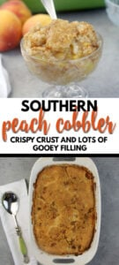 Peach Cobbler made with fresh or frozen peaches, a touch of cinnamon, brown sugar, and a little half and half to make the easy crust rich and delicious.