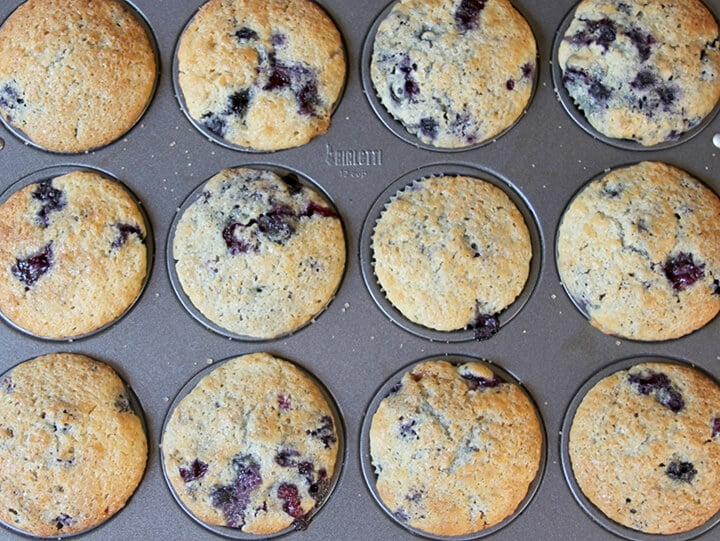 A muffin pan filled with baked blueberry muffins.