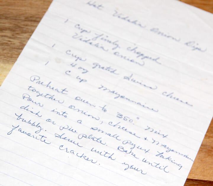 The handwritten recipe for Vidalia Onion Dip.