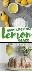 Lemon glaze recipe that's easy and is the perfect icing for cakes or cookies! Just powdered sugar and lemon juice with a few secret touches.