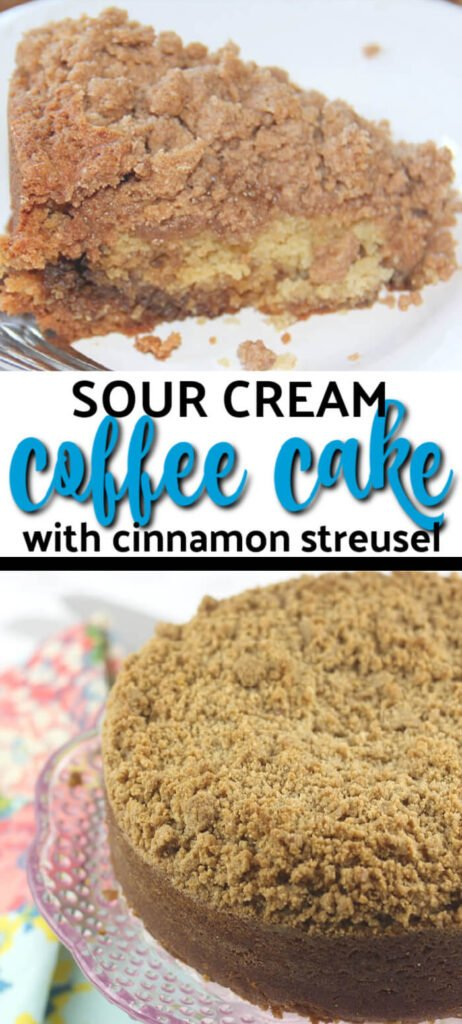 Easy Sour Cream Coffee Cake with a layer of gooey cinnamon filling and streusel topping. It's easy and just right for brunch or weekend house guests!