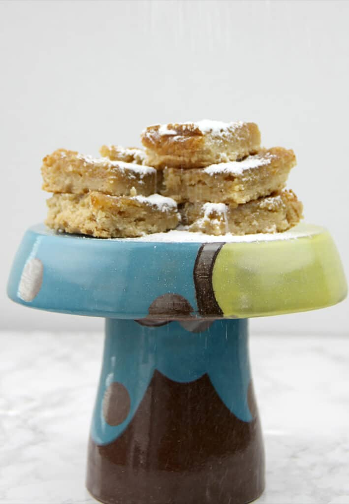 Toadstool stand with cookie bars on it with powdered sugar.
