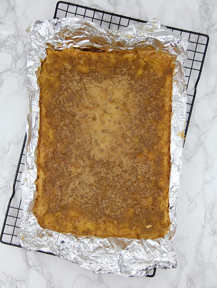 Overhead photo of a pan of chess pie bars.