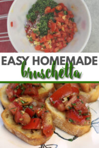 Bruschetta with fresh basil and other herbs, garlic, and balsamic vinegar--makes a great snack or appetizer and keeps for days!