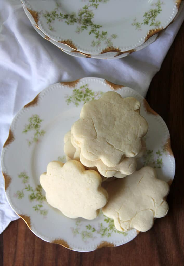 Overhead photo of cookies stacked on a plate.