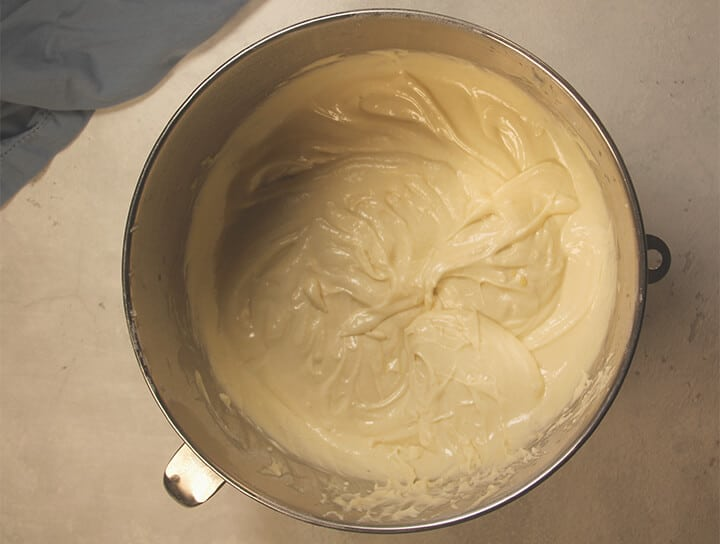 Large mixing bowl filled with batter.