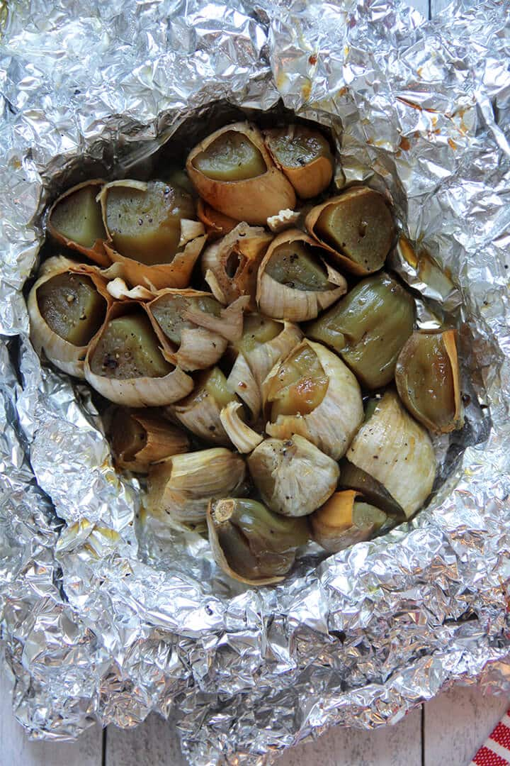 Garlic roasted in foil.