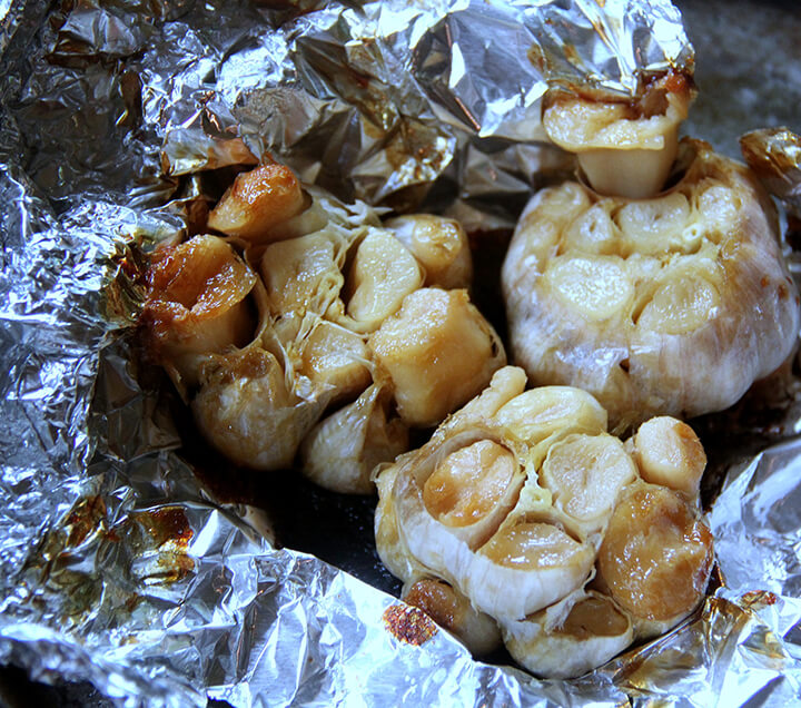 Roasted garlic in foil.