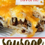 Sausage breakfast pizza with eggs and cheese over a crescent roll crust is a fun and delicious cheesy breakfast. Kids love this recipe!