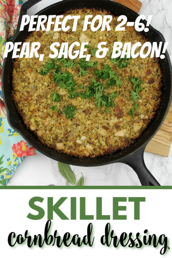 This Skillet Dressing Recipe with Pear, Sage, and Bacon is just right for a smaller crowd—and it's bursting with fresh flavor!
