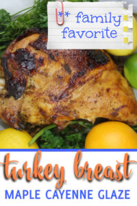 Oven roasted turkey breast with a maple syrup and cayenne pepper glaze is just right for a smaller gathering or for your weekly turkey sandwiches.