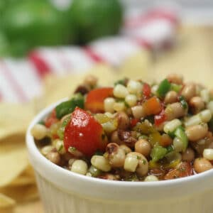 A white bowl filled with texas caviar.