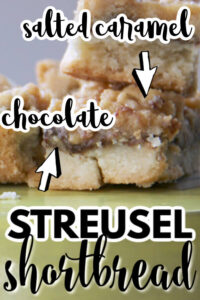 These Chocolate Caramel Shortbread Bars are decadent and delicious! They are covered in a rich nutella ganache and topped with a brown sugar streusel then a generous drizzle of salted caramel sauce.