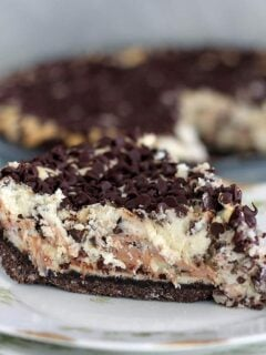 Chocolate Chip Cheesecake with mini chocolate chips is the easiest cheesecake! No springform pan needed and it whips up in about 15 minutes!