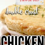 This double crust chicken pot pie has a rich, creamy sauce with lots of vegetables, and is topped with a savory thyme crust. And you can make it easy and use refrigerated pie crust!