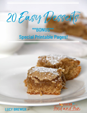 Photo of the cover of the 20 Easy Desserts cookbook.