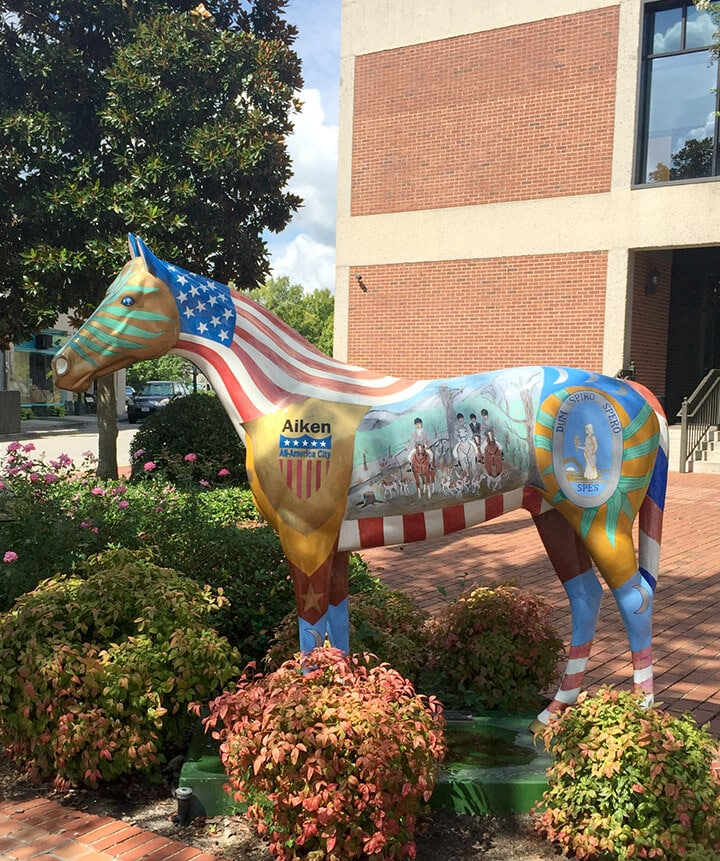 A painted horse statue in downtown Aiken, SC.