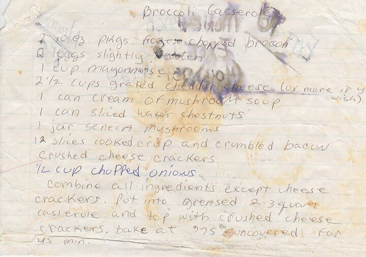 A photo of a handwritten recipe for broccoli and cheese casserole.