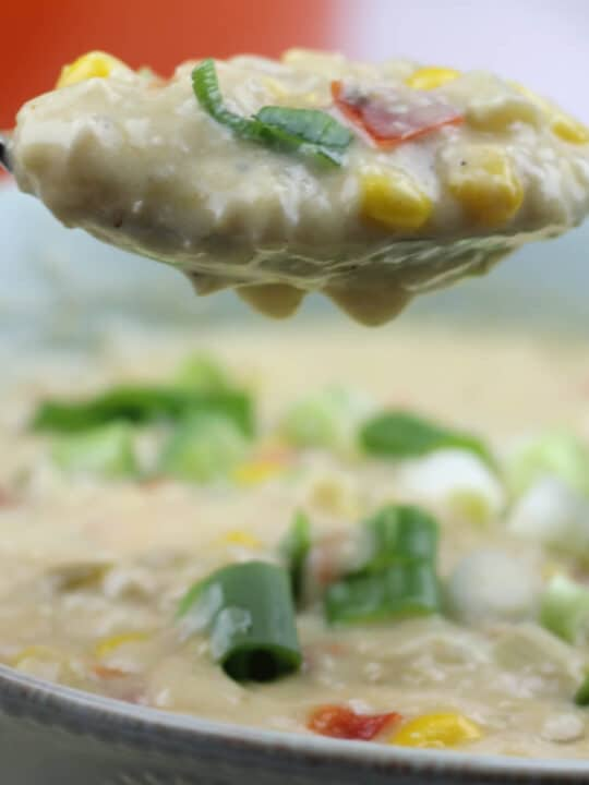 Chicken Corn Chowder is a rich and creamy soup filled with corn, chicken, bacon, and cheese. It's easy to make and kid-friendly!