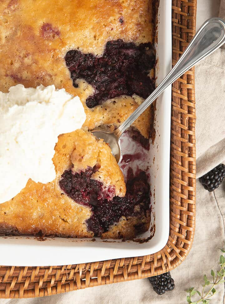 Baked blackberry cobbler in a white dish with a spoon.