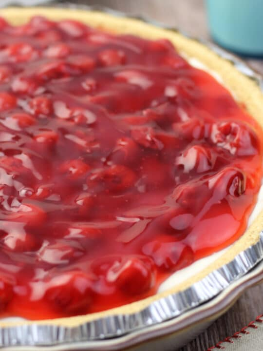 Cherry Cream Cheese Pie is a delightfully easy no-bake pie that is perfect year round for any occasion.