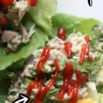Chicken Lettuce Wraps with mango and cilantro are a fresh and healthy way to enjoy chopped chicken salad. There's no mayonnaise, just lime juice and white balsamic vinegar reduction.