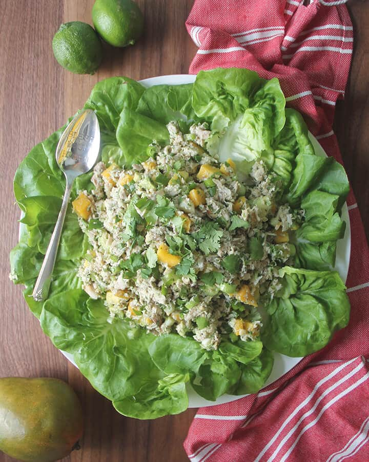 Chicken mango salad on a bed of lettuce leaves next to a red towel.