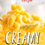 Mac and Cheese with a creamy, cheesy sauce — this one is a classic family favorite! No eggs, just a luscious creaminess with LOTS of cheese! It's the cheesiest and the best!