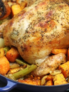 Roasted Chicken and Vegetables is the perfect dinner and easy to make. Butter and olive oil make this the crispiest roast chicken!